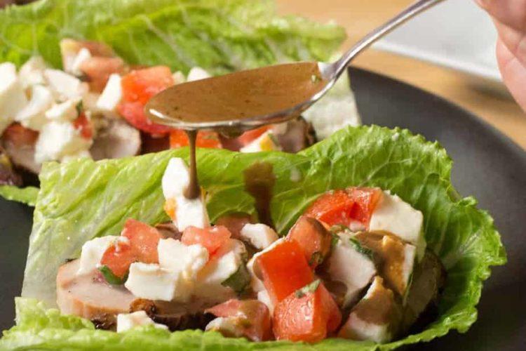 Grilled Pork Tenderloin Caprese Salad Lettuce Wraps