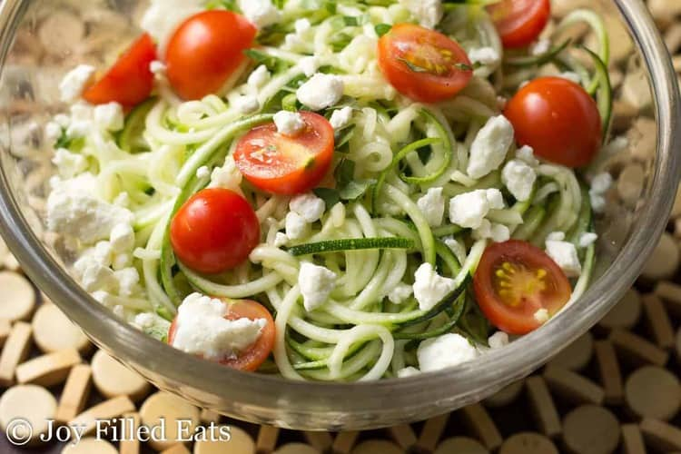 bowl of lemon & feta zucchini summer salad close up