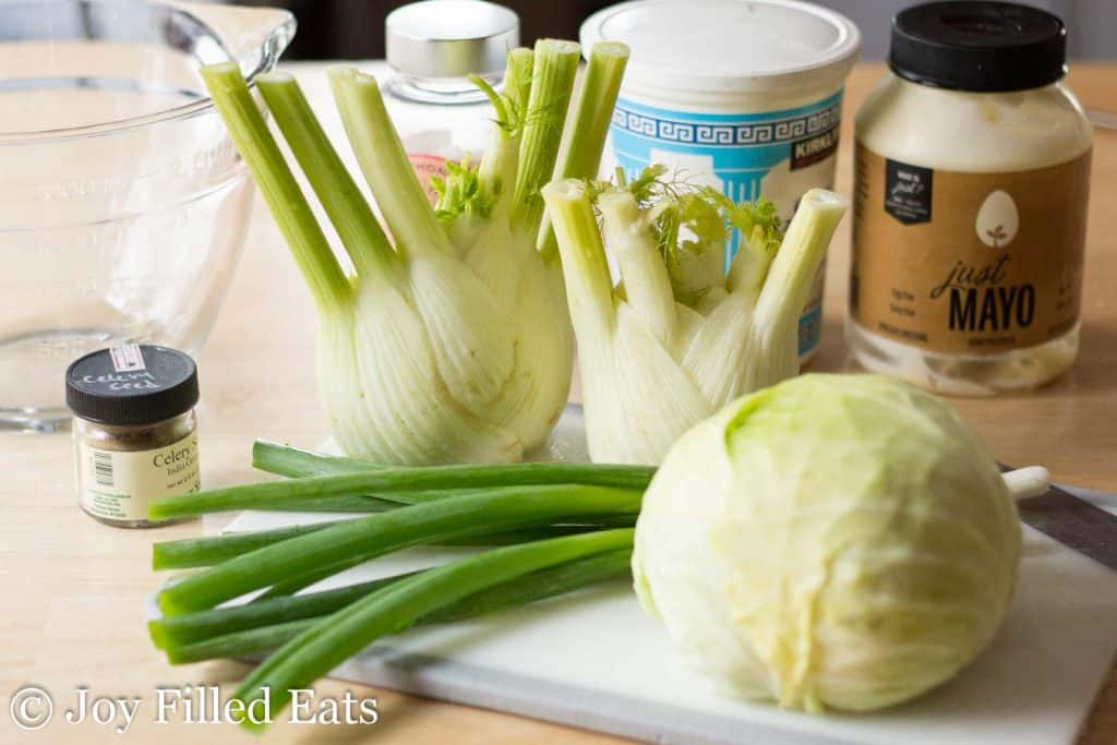 ingredients for the easy coleslaw with fennel