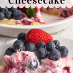 pinterest image for no bake berry cheesecake