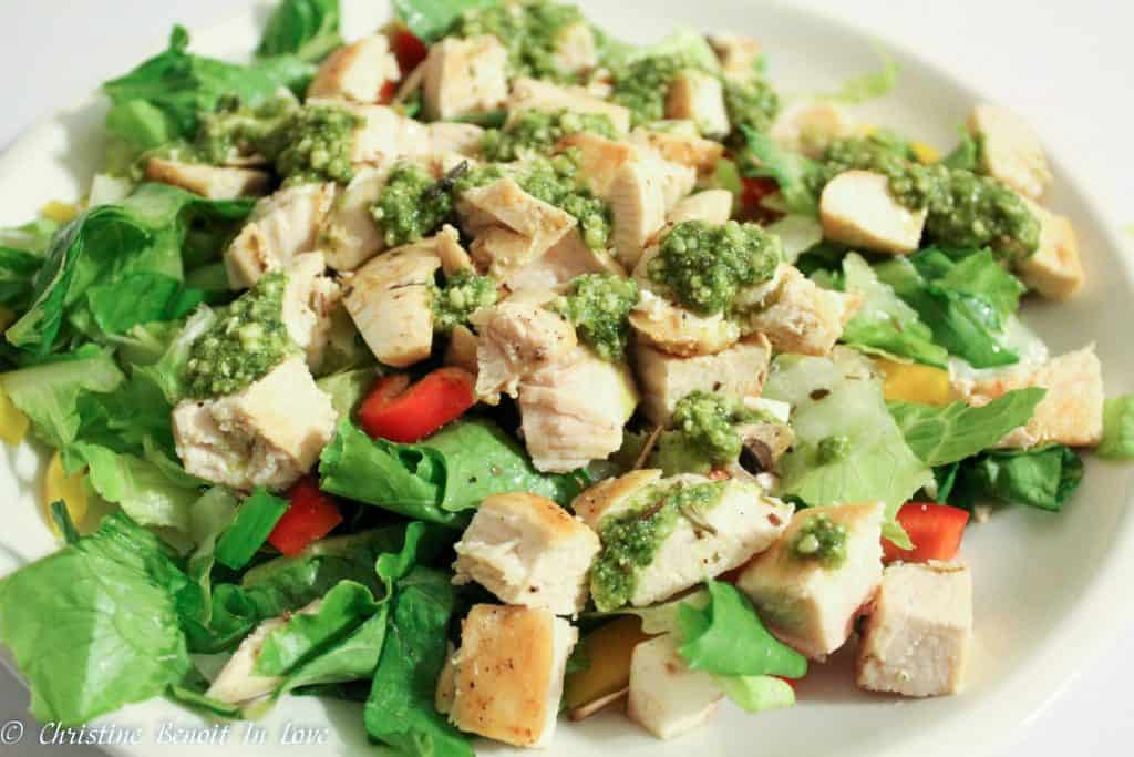 pesto chicken salad close up