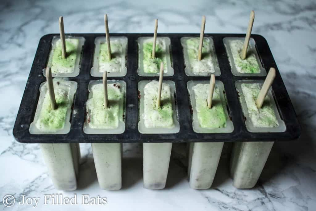 Mint Chocolate Chip Ice Cream Bars - Low Carb, Low Fat, THM FP, Sugar Grain Gluten Free