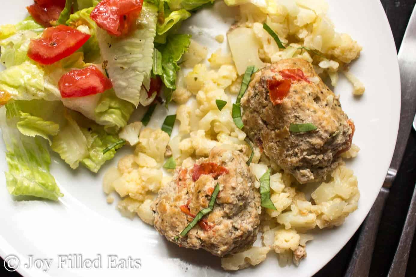 Skillet Basil & Tomato Meatballs - Low Carb, Grain & Gluten Free, THM S
