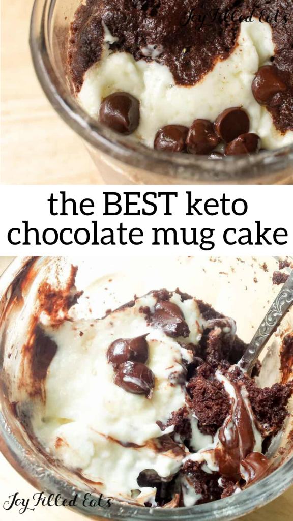 pinterest image for keto chocolate mug cake