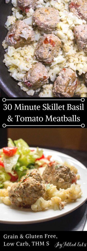 pinterest image for skillet basil & tomato Meatballs