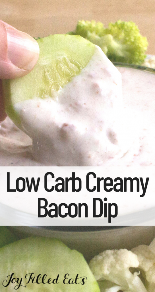 pinterest image for low carb creamy bacon dip