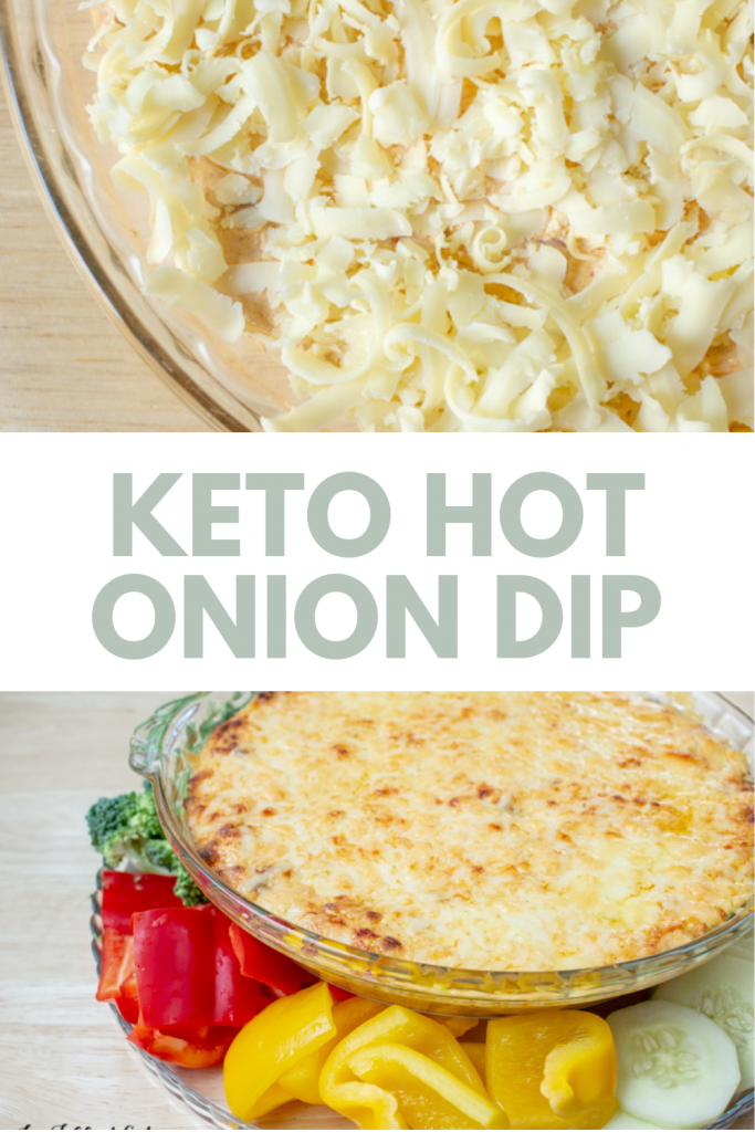pinterest image for hot onion dip