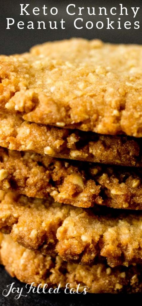 pinterest image for crunchy keto peanut cookies