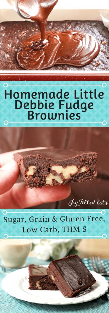 pinterest image for homemade Little Debbie fudge brownies