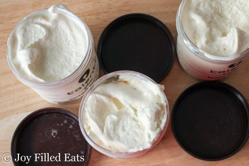 Homemade Vanilla Ice Cream in pint containers