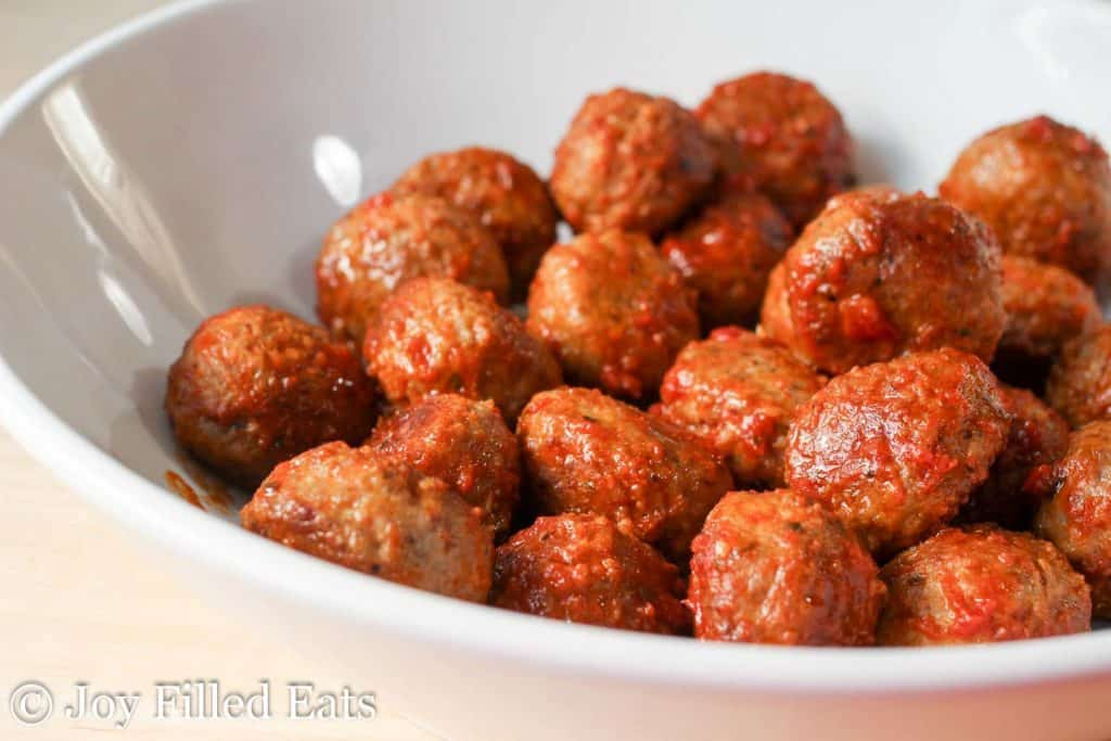 bowl of meatballs in a marinara sauce