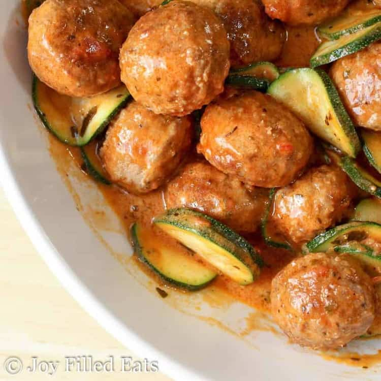 overhead view of one pot meatballs with zucchini & mascarpone