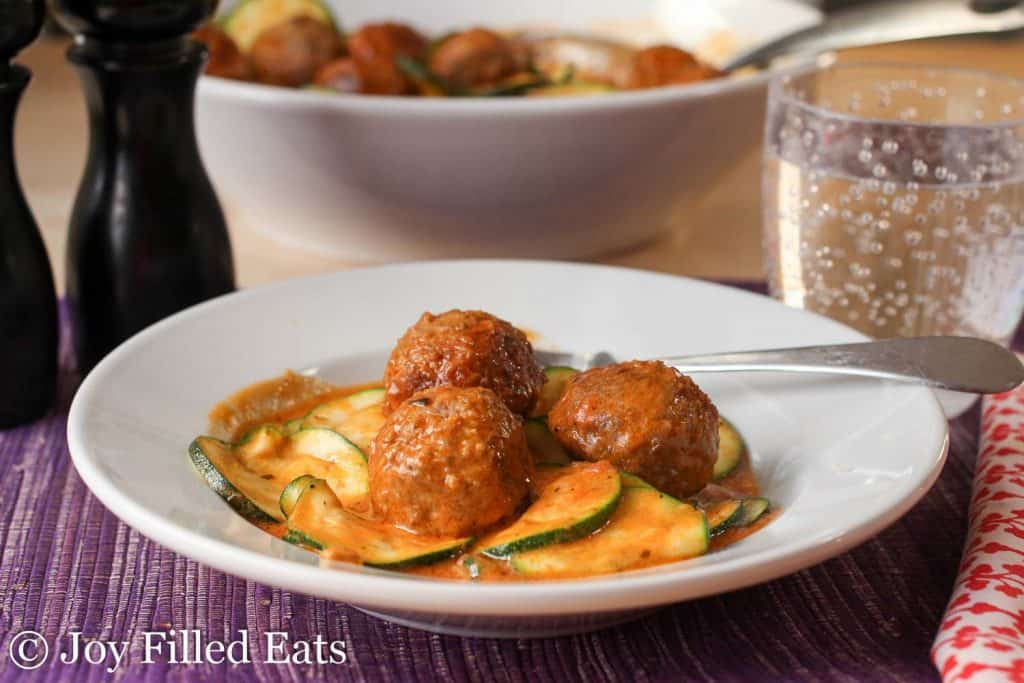 Easy Meatballs with Zucchini & Mascarpone in a white bowl
