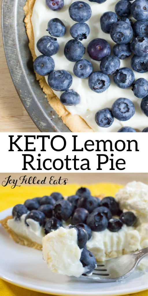 pinterest image for keto lemon ricotta pie