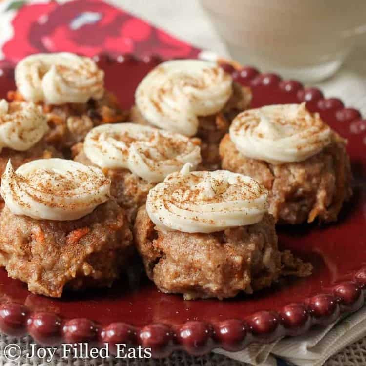 Mini Carrot Cake Cookies with Cream Cheese Frosting on a red plate