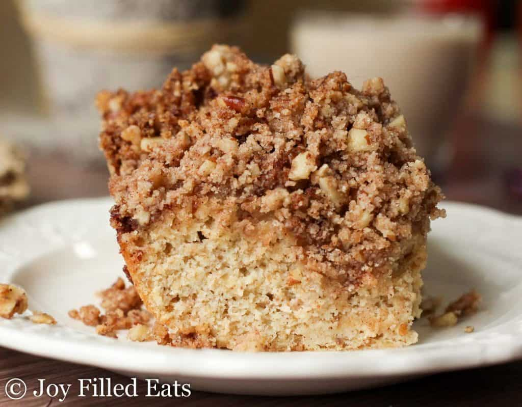 Cinnamon Pecan Crumb Cake on a white plate