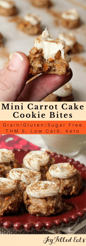 pinterest image for mini carrot cake cookie bites