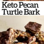 pinterest image for caramel pecan turtle bark