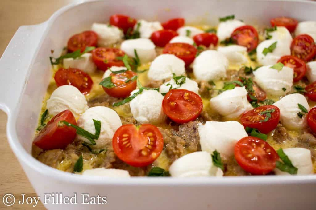Sausage & Ricotta Breakfast Casserole in a casserole dish waiting to be baked