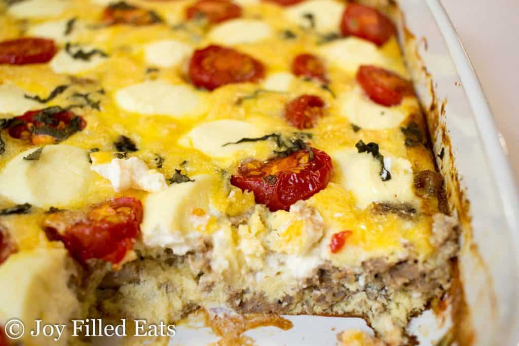 close up of a cut slice out of the Sausage & Ricotta Breakfast Casserole