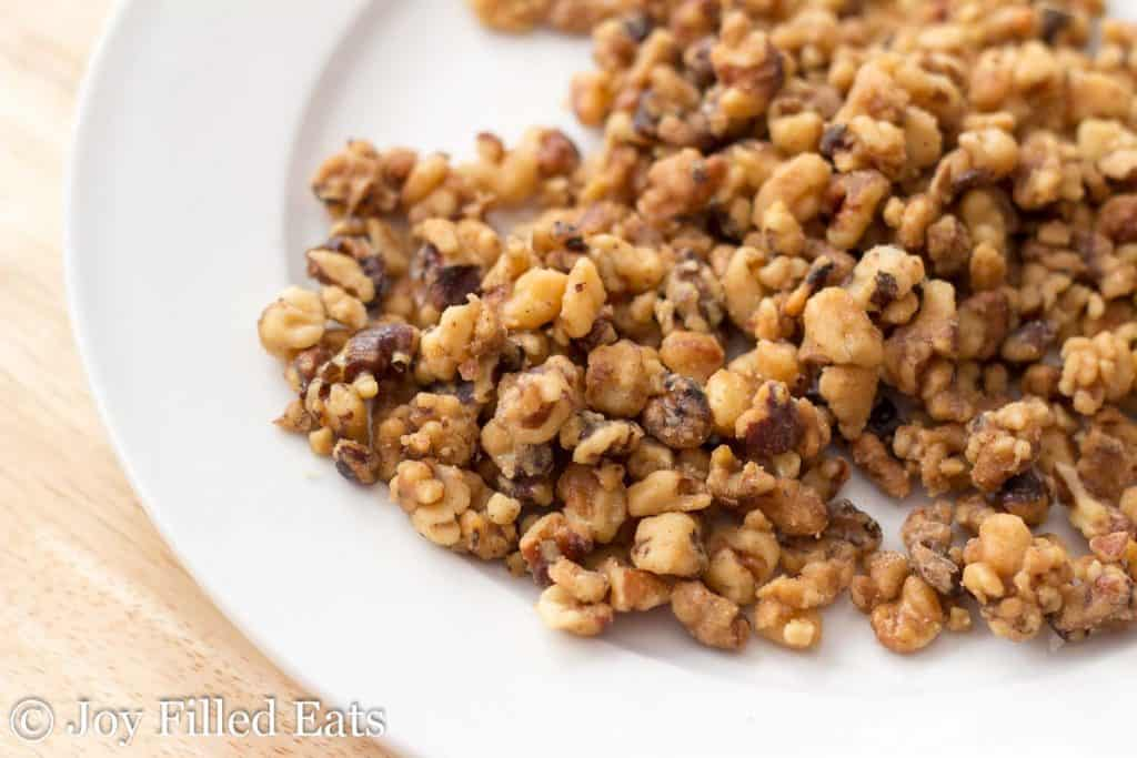 Candied Walnuts on a white plate