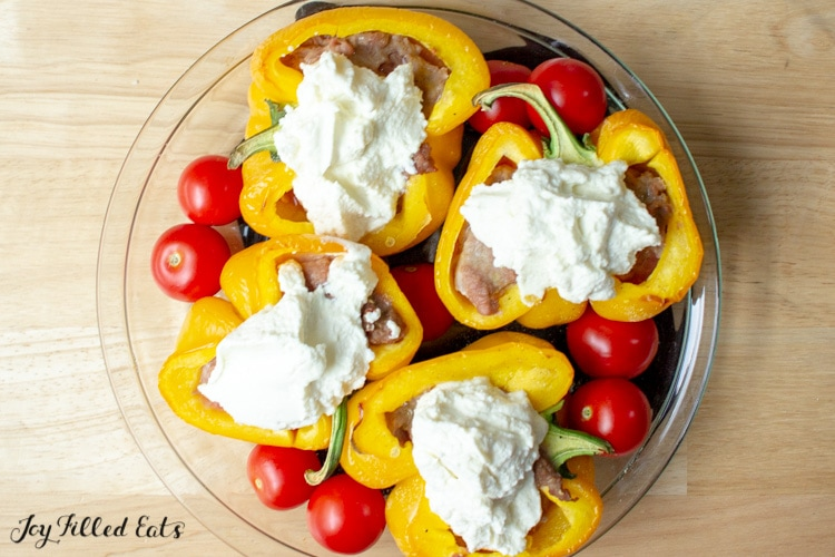 raw keto stuffed Peppers topped with ricotta