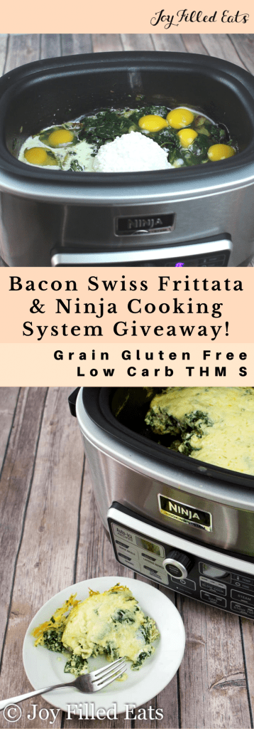 pinterest image for bacon Swiss Frittata and ninja cooking system