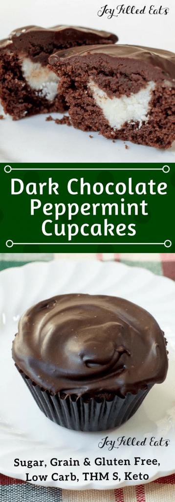 pinterest image for keto dark chocolate peppermint cupcakes