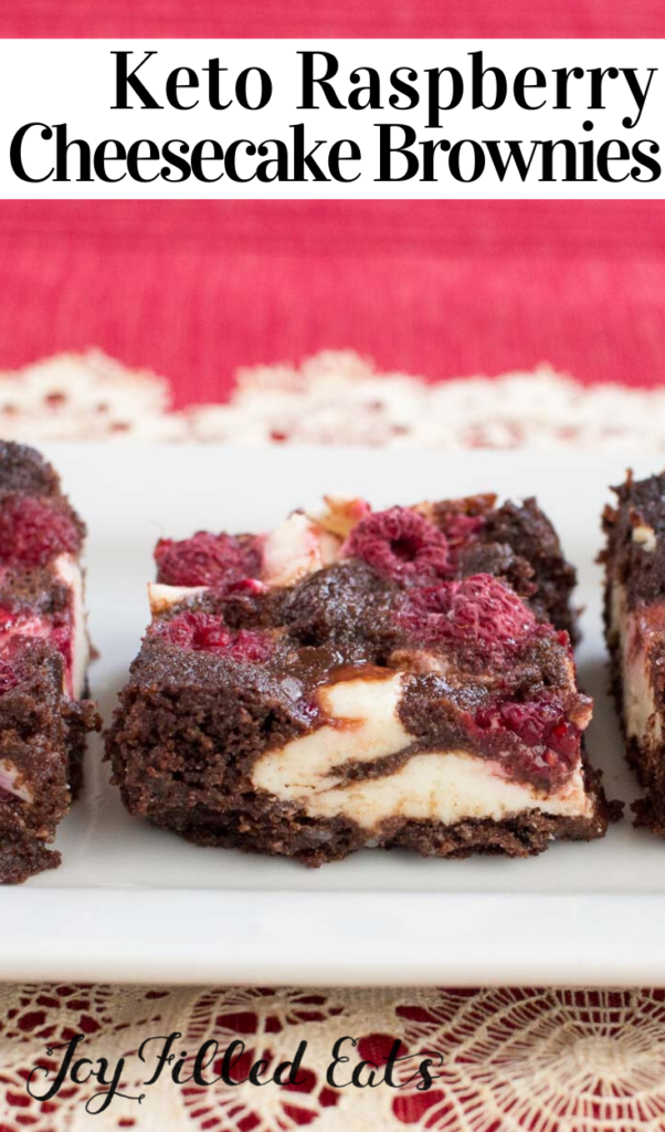 pinterest image for raspberry cheesecake brownies