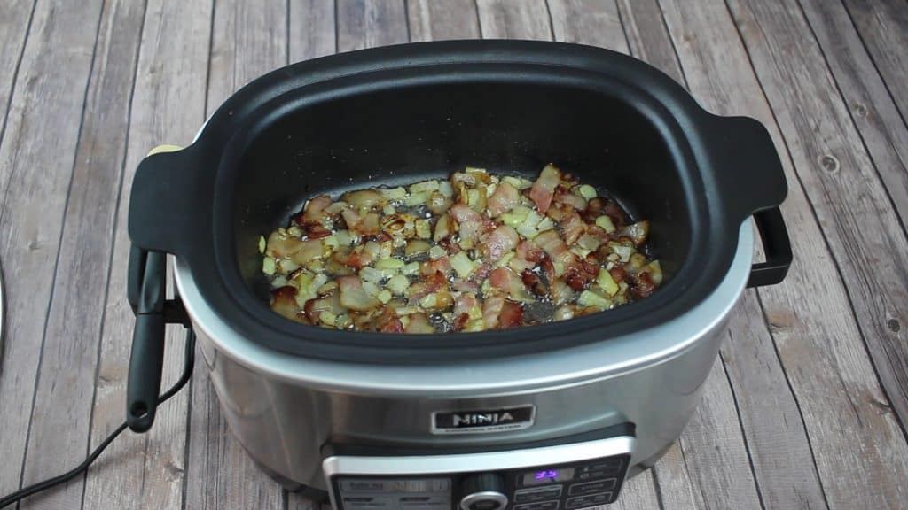 bacon Swiss Frittata in an open ninja cooking system