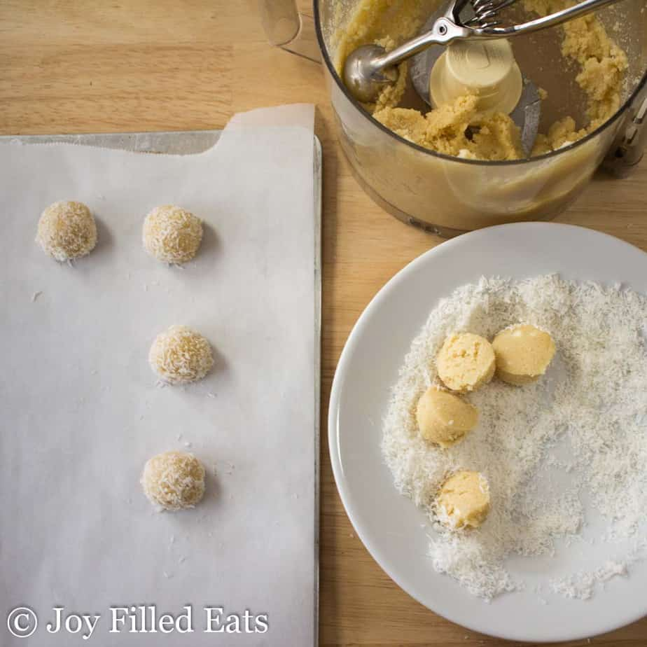 Dough, dough balls, and shredded coconut