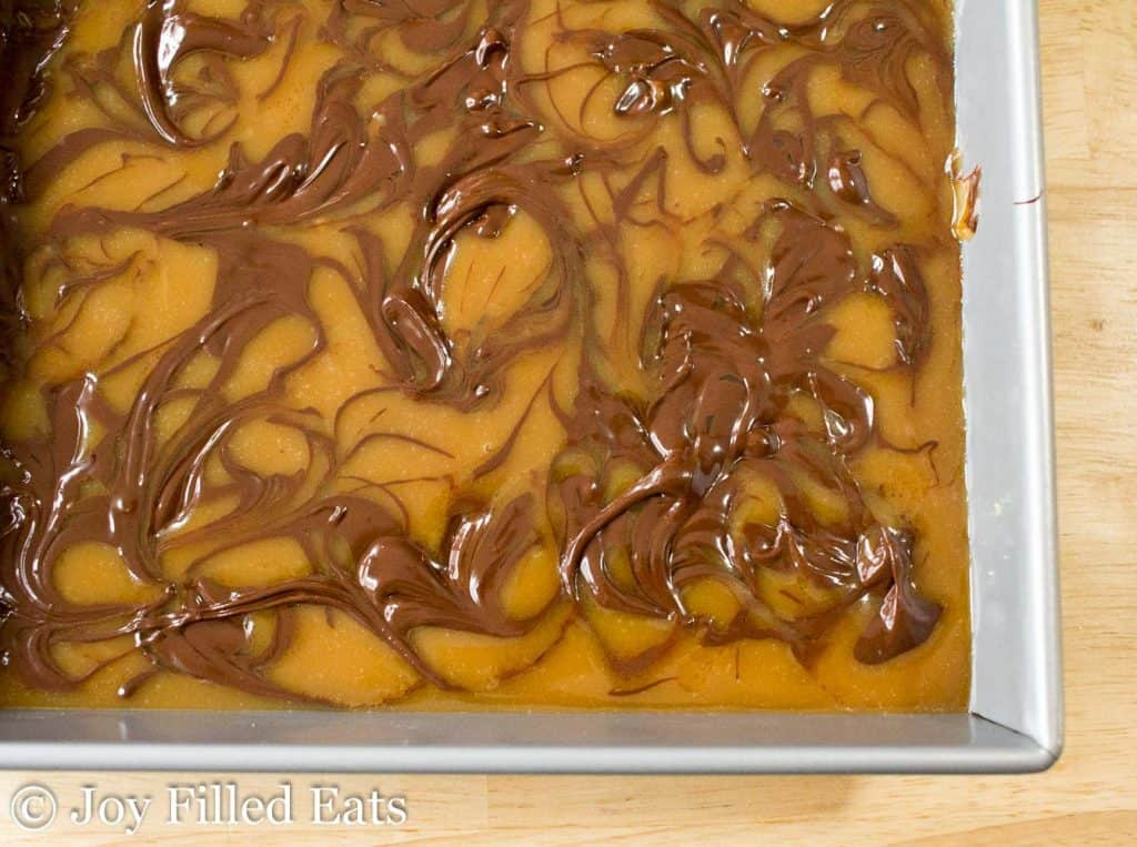 Chocolate swirled into caramel