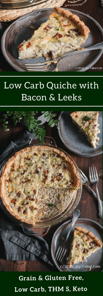 pinterest image for low carb quiche with bacon & leeks