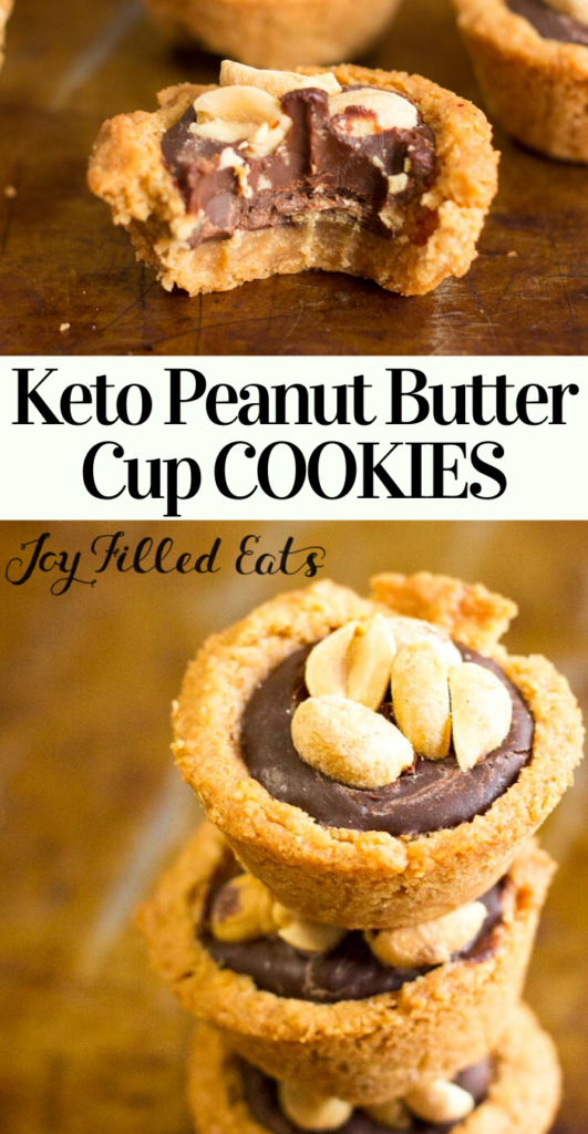 pinterest image for keto peanut butter cup cookies