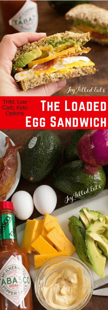 pinterest image for loaded egg sandwich