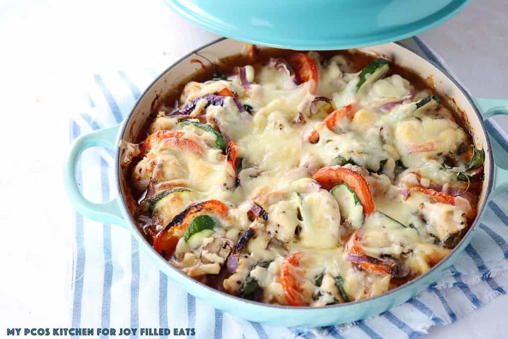 Primavera Cheesy Chicken Bake - Low Carb, Keto, Grain Gluten Free, THM S