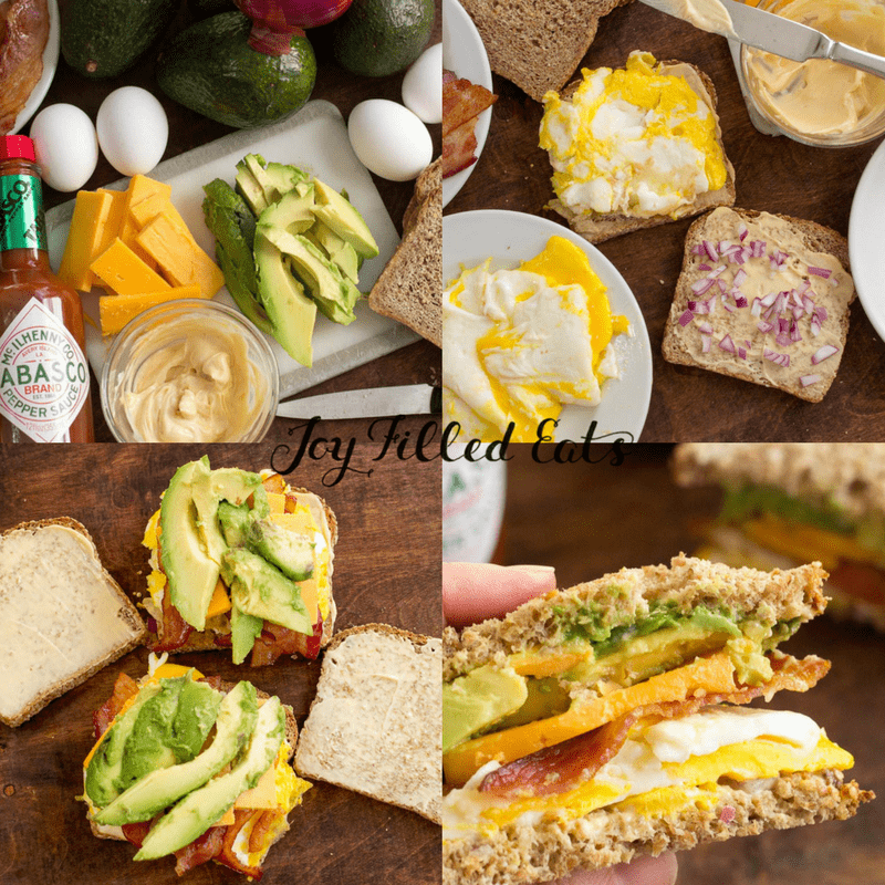 collage of images for loaded egg sandwich