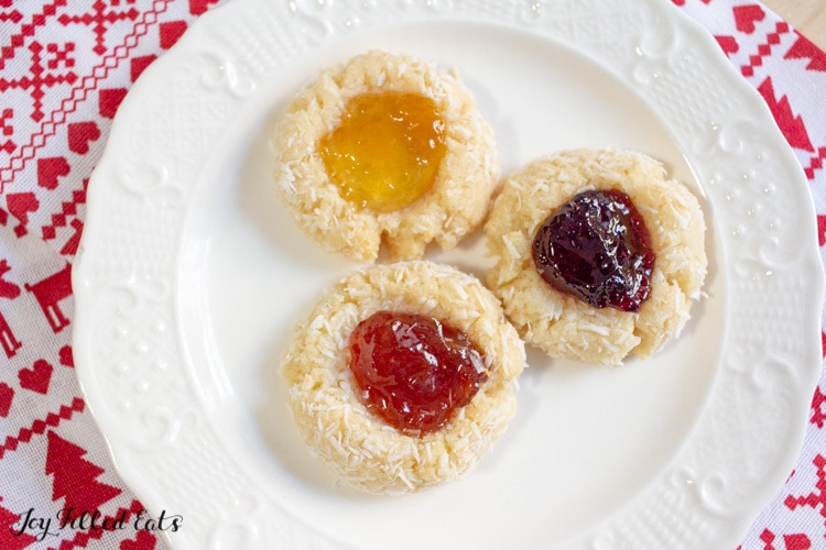 plate of jam thumbprint cookies from above