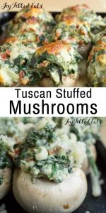 pinterest image for Tuscan stuffed mushrooms