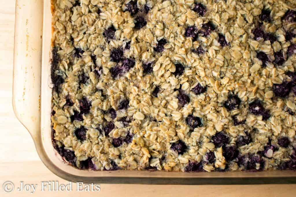 Overhead shot of Healthy Baked Oatmeal in a glass baking dish