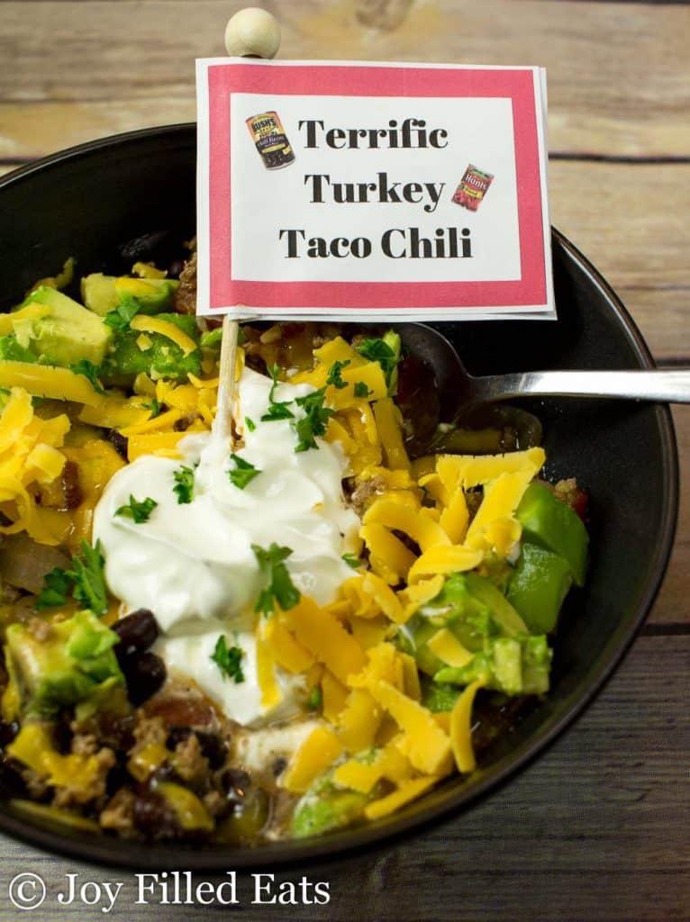 close up on bowl of terrific turkey taco chili