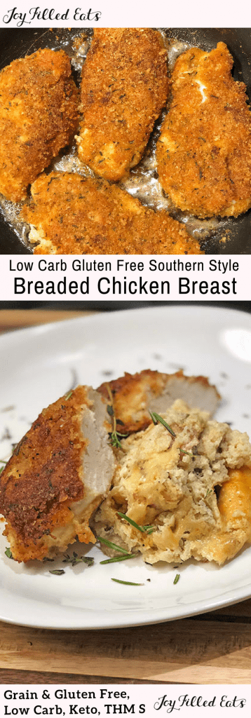 pinterest image for low carb breaded chicken