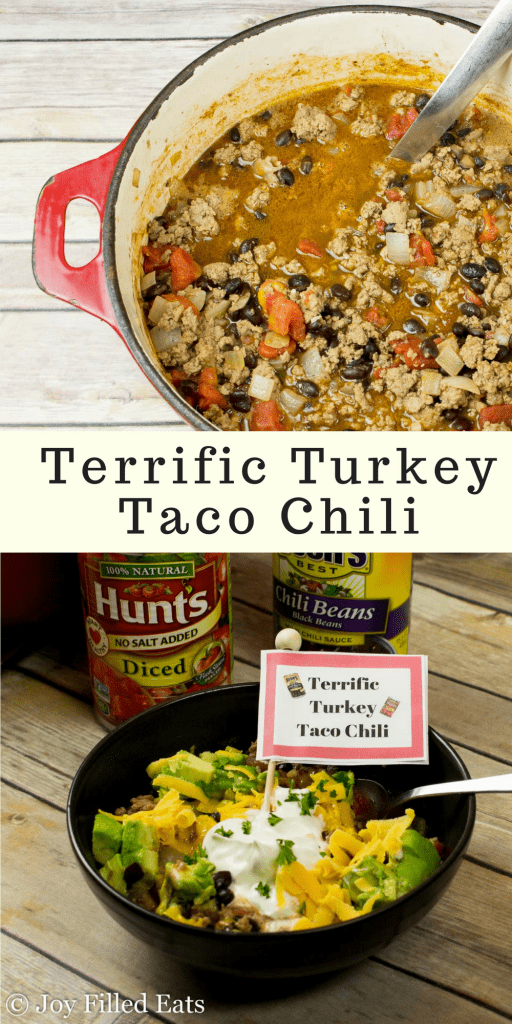 pinterest image for terrific turkey taco chili