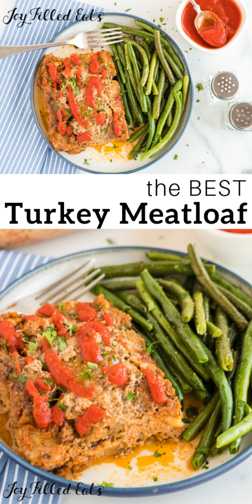 pinterest image for keto turkey meatloaf