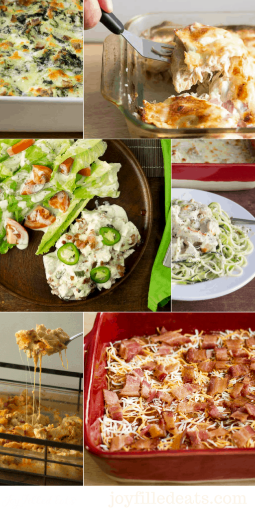Easy Chicken Casseroles Collage of photos - 21 Low Carb & Keto Dinners