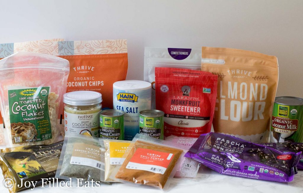 A variety of products purchased with the Thrive Market Coupon