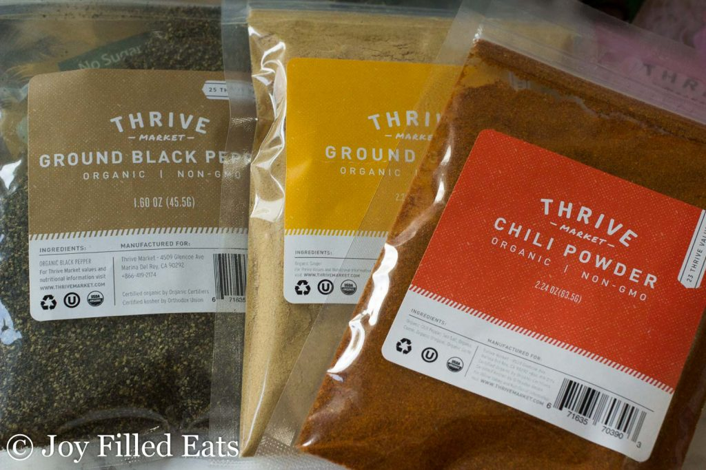 Thrive Market packaging for various seasonings
