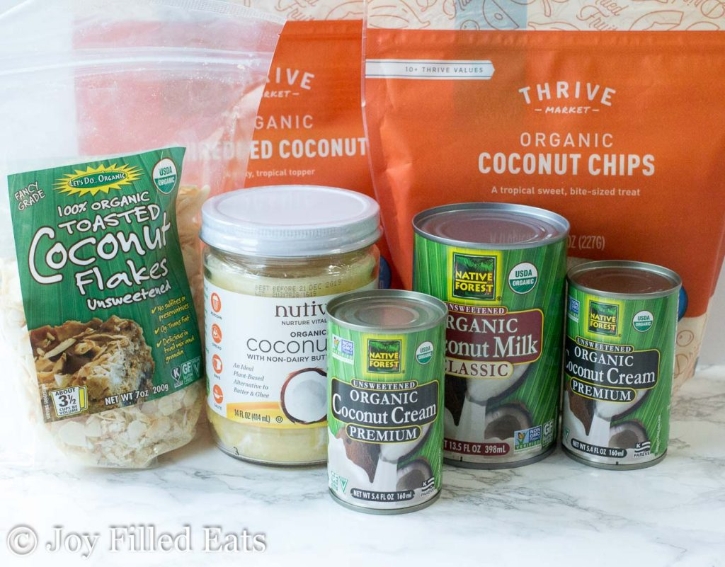 coconut based ingredients in packaging from Thrive market