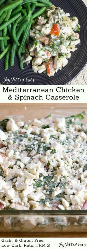 pinterest image for Mediterranean Chicken & Spinach Casserole