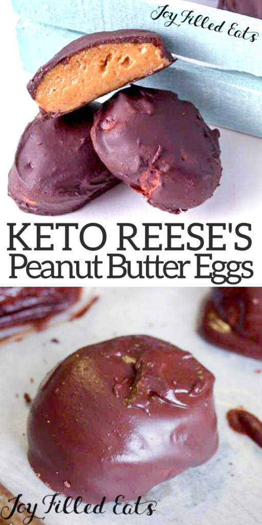 pinterest image for keto peanut butter eggs